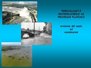 PERICOLOSITÀ RICONDUCIBILE AI PROCESSI FLUVIALI erosione del suolo ed esondazioni