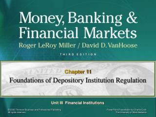 Foundations of Depository Institution Regulation