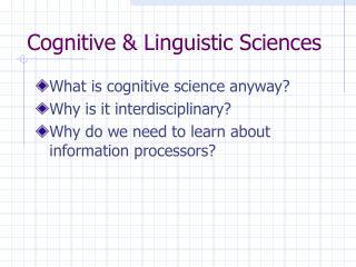 Cognitive  Linguistic Sciences