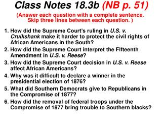Class Notes 18.3b  (NB p. 51)