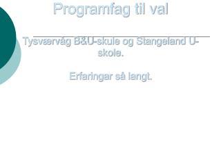 Programfag til val Tysværvåg B&U-skule og Stangeland U-skole. Erfaringar så langt.
