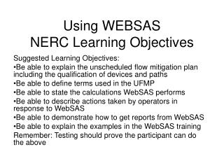 Using WEBSAS NERC Learning Objectives