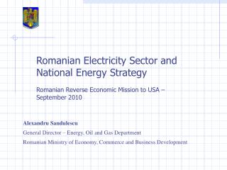 Romanian Electricity Sector and National Energy Strategy