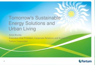 Tomorrow's Sustainable Energy Solutions and Urban Living