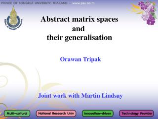 Abstract matrix spaces  and   their generalisation