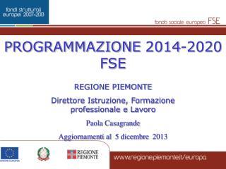 PROGRAMMAZIONE 2014-2020 FSE