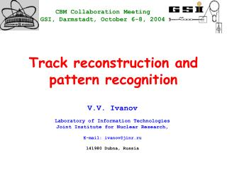 Track reconstruction and pattern recognition