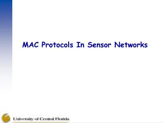 MAC Protocols In Sensor Networks