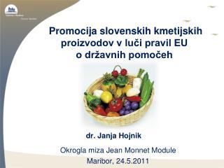 Promocija slovenskih kmetijskih proizvodov v luči pravil EU  o državnih pomočeh