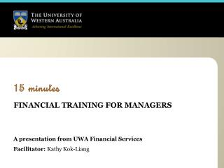 15 minutes FINANCIAL TRAINING FOR MANAGERS