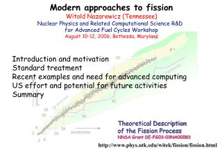 Modern approaches to fission Witold Nazarewicz (Tennessee)