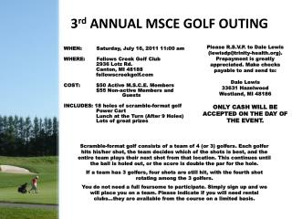 3rd ANNUAL MSCE GOLF OUTING