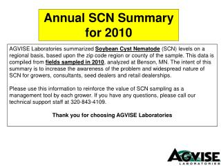 Annual SCN Summary for 2010