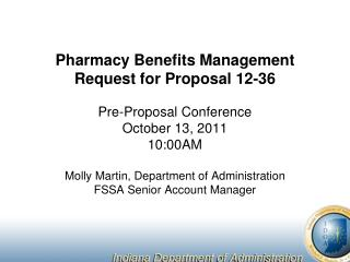 Pharmacy Benefits Management Request for Proposal 12-36