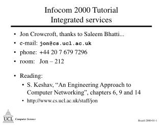 Infocom 2000 Tutorial Integrated services