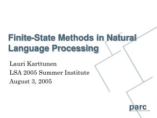 Finite-State Methods in Natural Language Processing