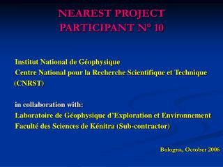 NEAREST PROJECT PARTICIPANT N° 10