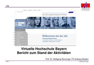 Virtuelle Hochschule Bayern Bericht zum Stand der Aktivitäten