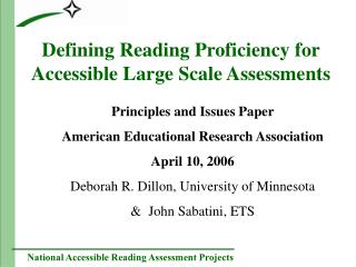 Defining Reading Proficiency for Accessible Large Scale Assessments