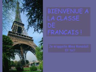 BIENVENUE A LA CLASSE  DE   FRANCAIS !