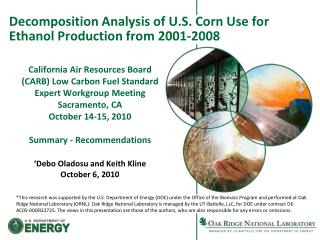 Decomposition Analysis of U.S. Corn Use for Ethanol Production from 2001-2008