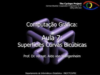 Computação Gráfica: Aula 7:  Superfícies Curvas Bicúbicas Prof. Dr. rer.nat. Aldo von Wangenheim