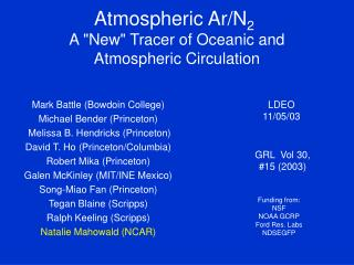 "Atmospheric Ar/N 2 A ""New"" Tracer of Oceanic and Atmospheric Circulation"