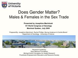 Presented by Josephine MacIntosh   XV World Congress of Sexology Montreal Quebec, July 2005
