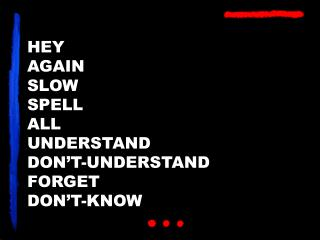 HEY AGAIN SLOW SPELL ALL UNDERSTAND DON�T-UNDERSTAND FORGET DON�T-KNOW