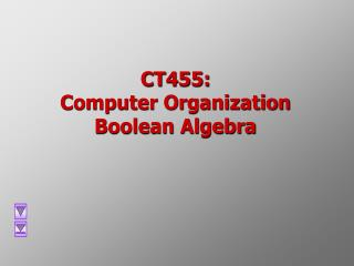CT455:  Computer Organization Boolean Algebra