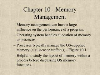 Chapter 10 - Memory Management