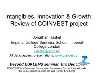 Intangibles, Innovation & Growth: Review of COINVEST project