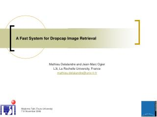 A Fast System for Dropcap Image Retrieval
