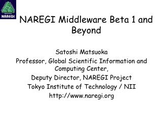 NAREGI Middleware Beta 1 and Beyond