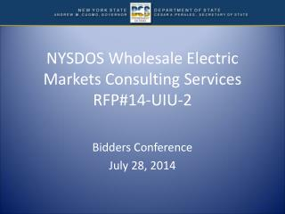 NYSDOS Wholesale Electric Markets Consulting Services RFP#14-UIU-2