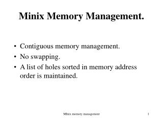 Minix Memory Management.