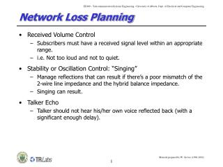 Network Loss Planning