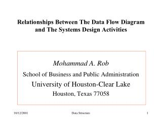 Relationships Between The Data Flow Diagram and The Systems Design Activities