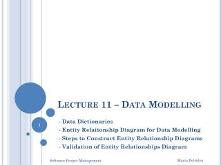 Lecture 11 – Data Modelling