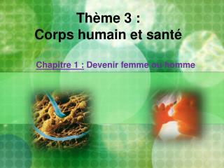 Thème 3 :  Corps humain et santé