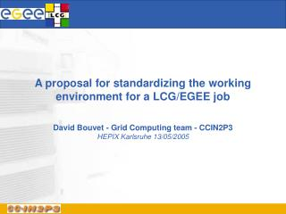 A proposal for standardizing the working environment for a LCG/EGEE job