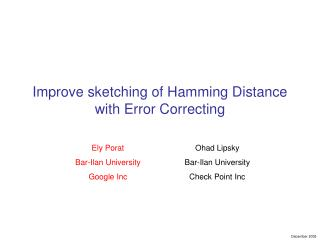 Improve sketching of Hamming Distance with Error Correcting