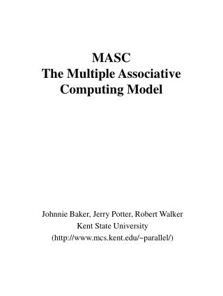 MASC The Multiple Associative Computing Model