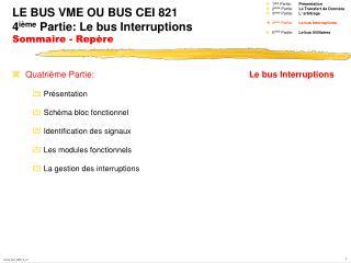 LE BUS VME OU BUS CEI 821  4 ième  Partie: Le bus Interruptions Sommaire - Repère