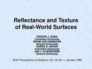 Reflectance and Texture  of Real-World Surfaces