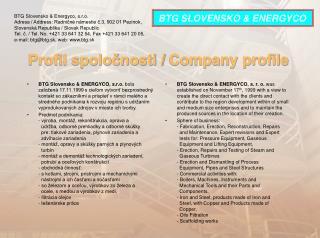 Profil spoločnosti /  Company profile