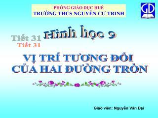 PHÒNG GIÁO DỤC HUẾ TRƯỜNG THCS NGUYỄN CƯ TRINH
