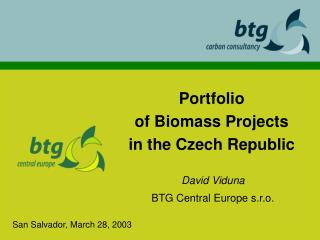 Portfolio of Biomass Projects in  the  Czech Republic