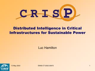 Distributed Intelligence in Critical Infrastructures for Sustainable Power