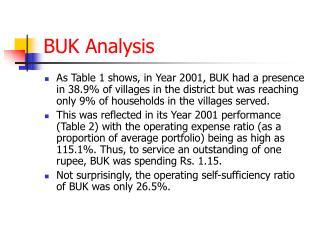 BUK Analysis